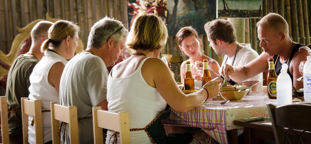 Family table at Ya's Restaurant Krabi